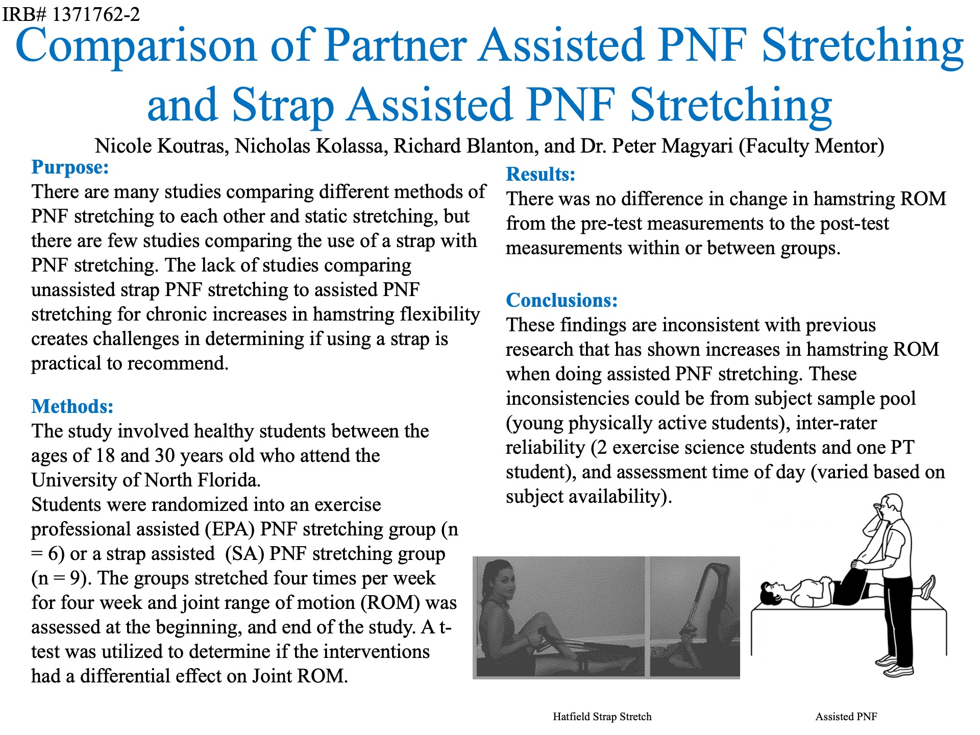 Comparison of Partner Assisted PNF Stretching and Strap Assisted PNF Stretching poster