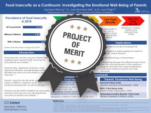 Food Insecurity as a Continuum: Investigating the Emotional Well-Being of Parents Project of Merit poster