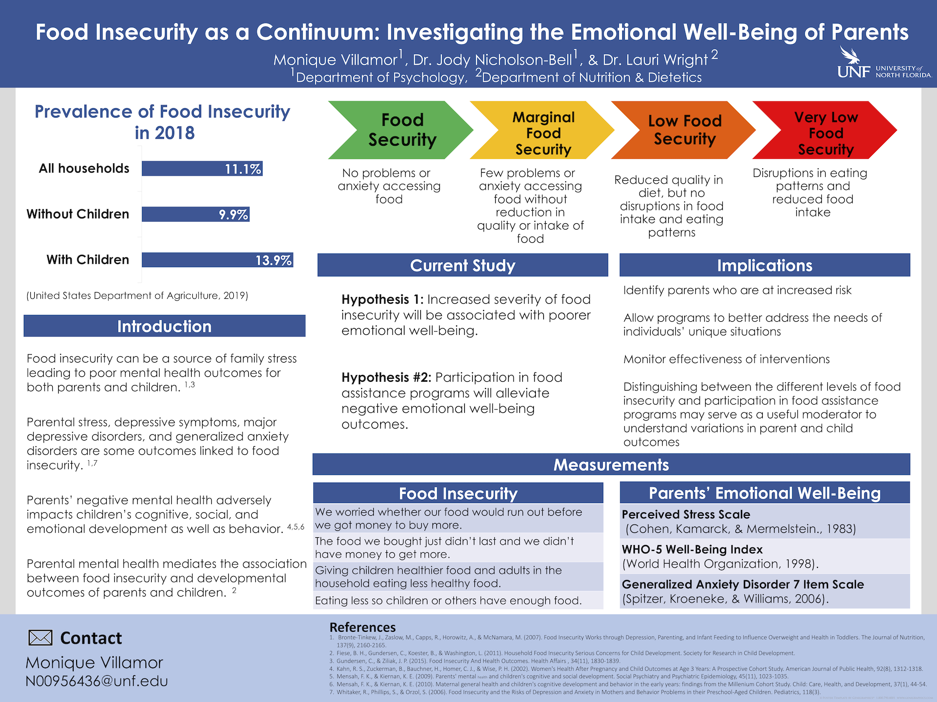 Food Insecurity as a Continuum: Investigating the Emotional Well-Being of Parents poster