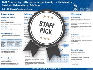 Self-Monitoring Differences in Spirituality vs. Religiosity: Intrinsic Orientation as Mediator Staff Pick poster