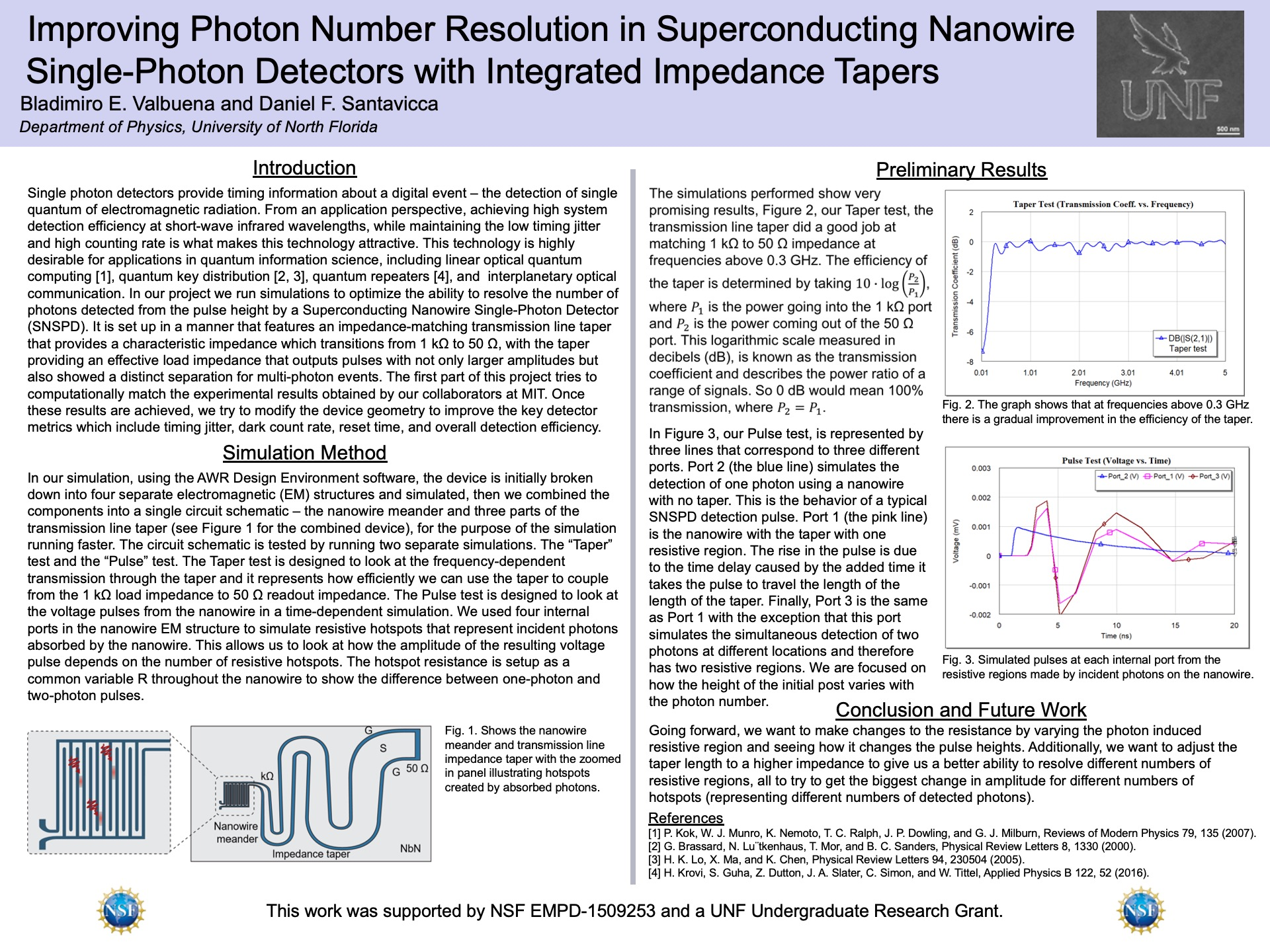 Improving Photon Number Resolution in Superconducting Nanowire Single-Photon Detectors with Integrated Impedance Tapers poster