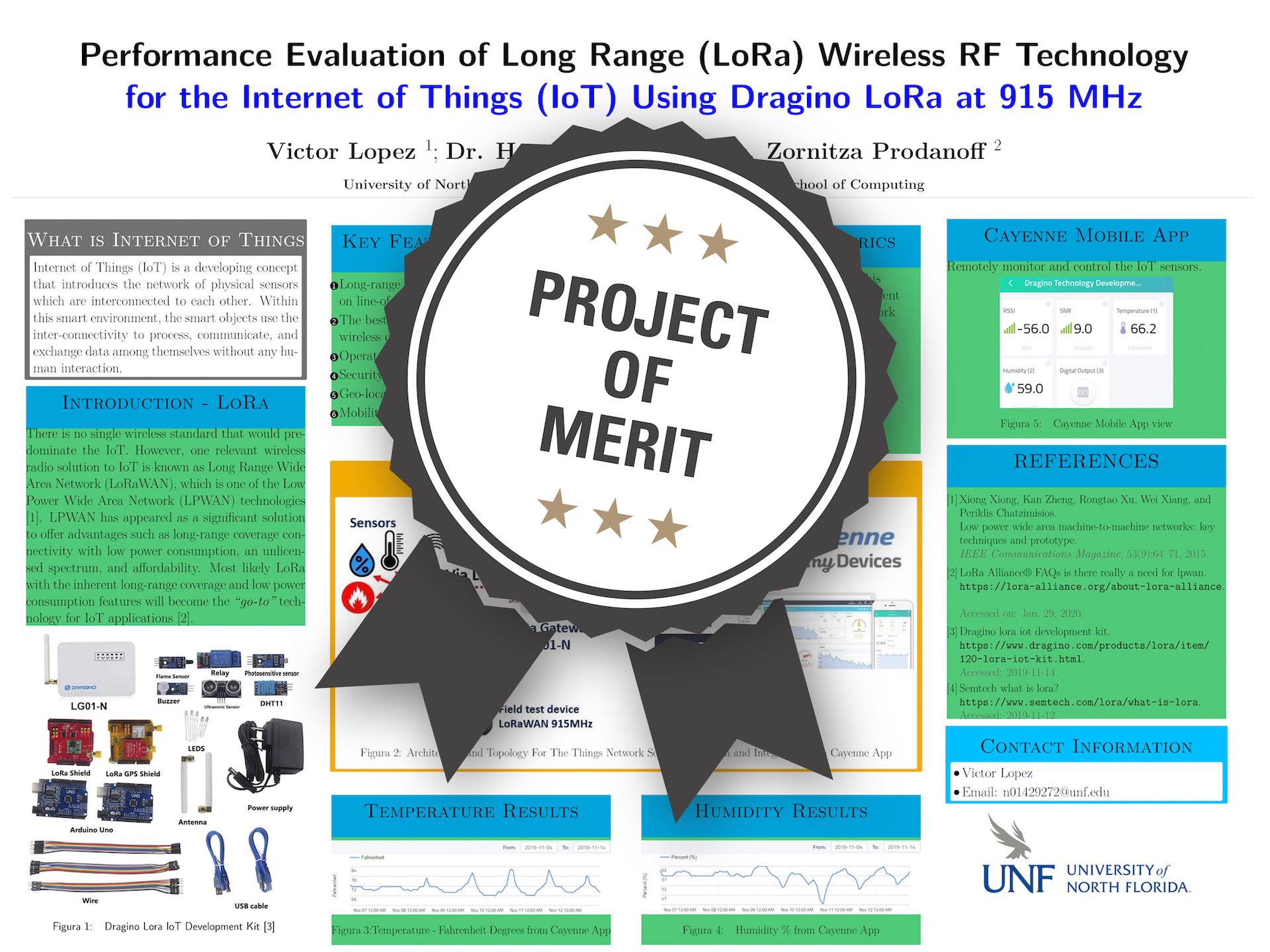 Performance Evaluation of Long Range (LoRa) Wireless RF Technology for the Internet of Things (IoT) Using Dragino LoRa at 915 MHz Project of Merit poster