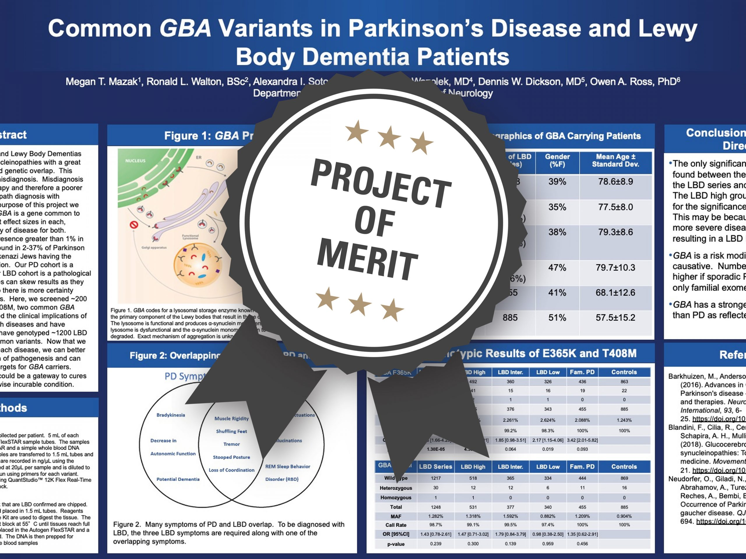 Common GBA Variants in Parkinson's Disease and Lewy Body Dementia Patients Project of Merit poster